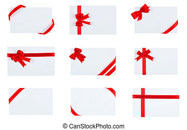 Collection of card with red ribbon bow on white background