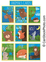 Collection of cards with cute forest animals, vector illustrations with owl, bear, hedgehog, deer, squirrel, wolf, hare, fox, beaver, design element for banner, flyer, greeting card, cartoon style