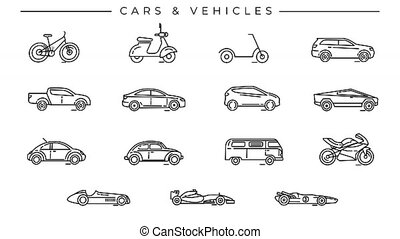 Collection of Cars and Vehicles line icons on the alpha channel. Icons have an animation appearing from 0 to 2 seconds and loops from 2 to 6 seconds.