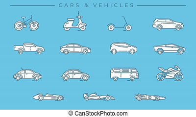 Cars and Vehicles line icons on the alpha channel. - ...