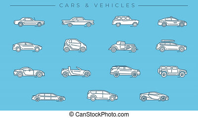 Line icons on the Cars and Vehicles theme. File contains alpha channel. Icons have an animation appearing from 0 to 2 seconds and loops from 2 to 6 seconds.