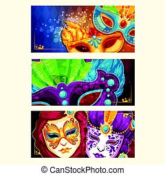 Collection of cartoon banners with carnival masks decorated with feathers and rhinestones