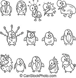 Collection of cartoon birds