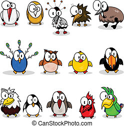 Cartoon birds (chicken, eagle owl, toucan, penguin, peacock , owl, parrot, woodpecker, cardinal-bird, ostrich, crane, stork, kiwi, eagle).