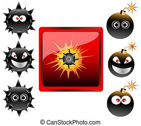 Collection of cartoon bomb emoticon