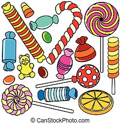 Collection of Cartoon Candy. Contour Illustration -...