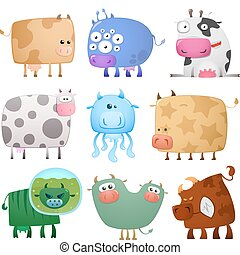 Collection of cartoon colored crazy funny cows