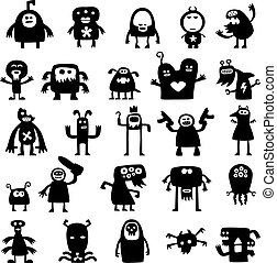 monsters silhouettes - Collection of cartoon crazy funny...