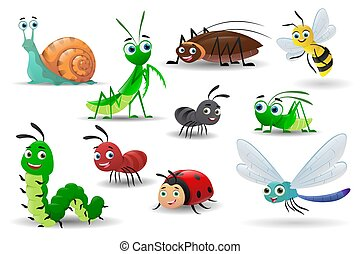 Collection of cartoon cute insects