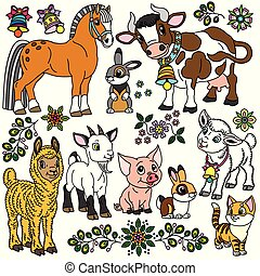 collection of cartoon farm animals
