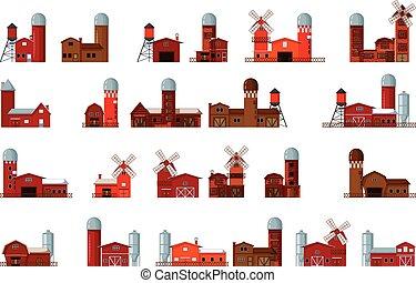collection of cartoon farm building