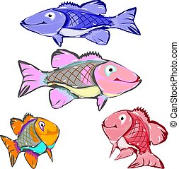 Collection of cartoon fish, character on white background,
