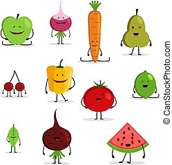 collection of cartoon fruit and vegetables, funny faces.