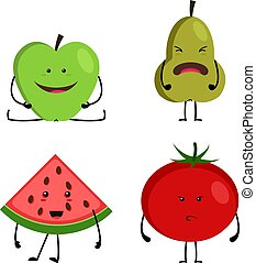 collection of cartoon fruit and vegetables, funny happy faces.