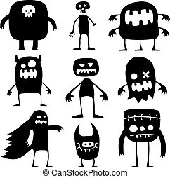 Halloween monsters - Collection of cartoon funny Halloween...