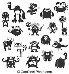 Funny Monsters Silhouette - Collection Of Cartoon Funny...