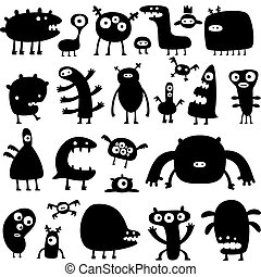 collection of cartoon funny monsters silouettes