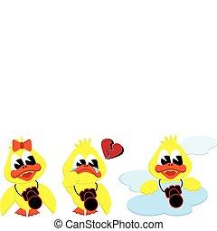 girl broken heart and cloud ducks - collection of cartoon...