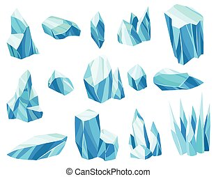 Collection of cartoon ice crystals. Cold frozen blocks or ice mountain, winter decoration for game design. Iceberg broken pieces of ice. Snowy elements on white background