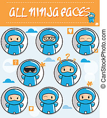 Collection of cartoon ninjas