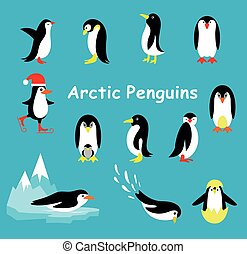 Collection of cartoon penguin isolated on a blue background.