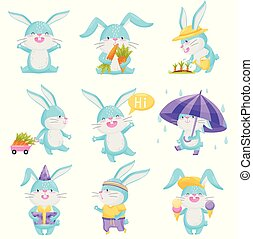 Collection of cartoon rabbits on white background.