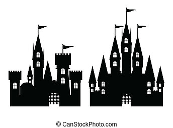 Collection of castle isolated on white, vector