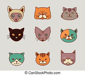 Collection of cat line and color vector icons, illustrations