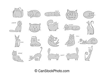 Collection of cats character for your design