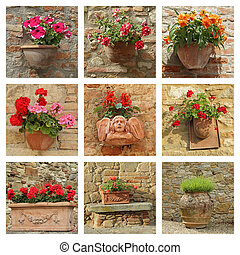 collection of ceramic pottery with flowers on antique wall