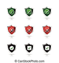 Collection of check mark and wrong mark with shield icon, design element isolated on white background vector illustration 002