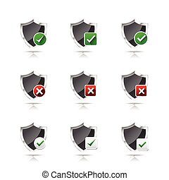 Collection of check mark and wrong mark with shield icon, design element isolated on white background vector illustration