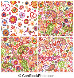 Collection of childish funny colorful hippie wallpapers