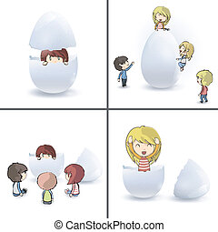 Collection of children around eggs.