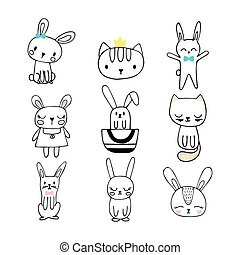 Collection of children doodles and sketches with funny animals. Set of cute hand drawn bunnies and cats