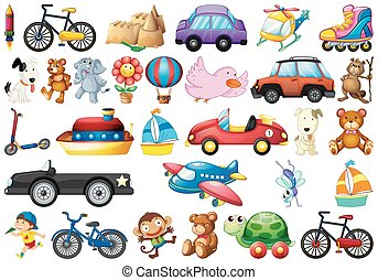 Collection of children's toys on white