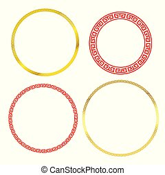 Collection of Chinese traditional art blank frame red circle boarder and white background with copy space vector illustration