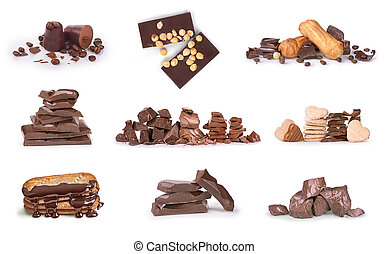 Collection of chocolates on a white background