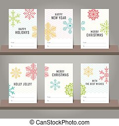 Collection of Christmas and New Year gift card, tags. Card templates with snowflakes symbols.