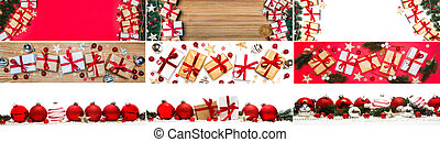 Collection of Christmas background with christmas balls, tree, gift and decoration