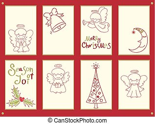 Collection of Christmas banners with cute little angels