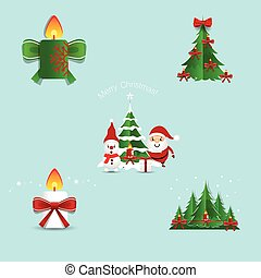 Collection of Christmas decorations. Vector illustration.