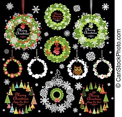 Collection of christmas decorative paper wreath