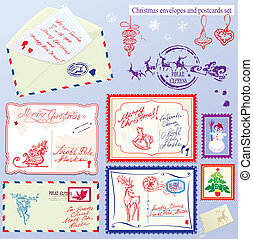 Collection of Christmas envelops, postcards, stamps and hand drawn texts and pictures - Christmas and New Year postage set.