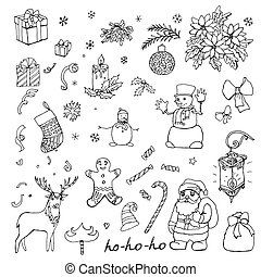 collection of Christmas hand drawn