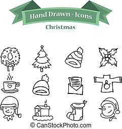 Collection of Christmas icon set hand draw