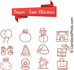 Collection of Christmas icons object