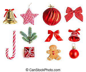 Collection of Christmas objects for mock up template design...