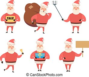 Collection of Christmas Santa Claus. Cartoon and flat style. Vector illustration. White background. For your web design.