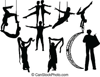 circus artists - Collection of circus artists silhouette -...
